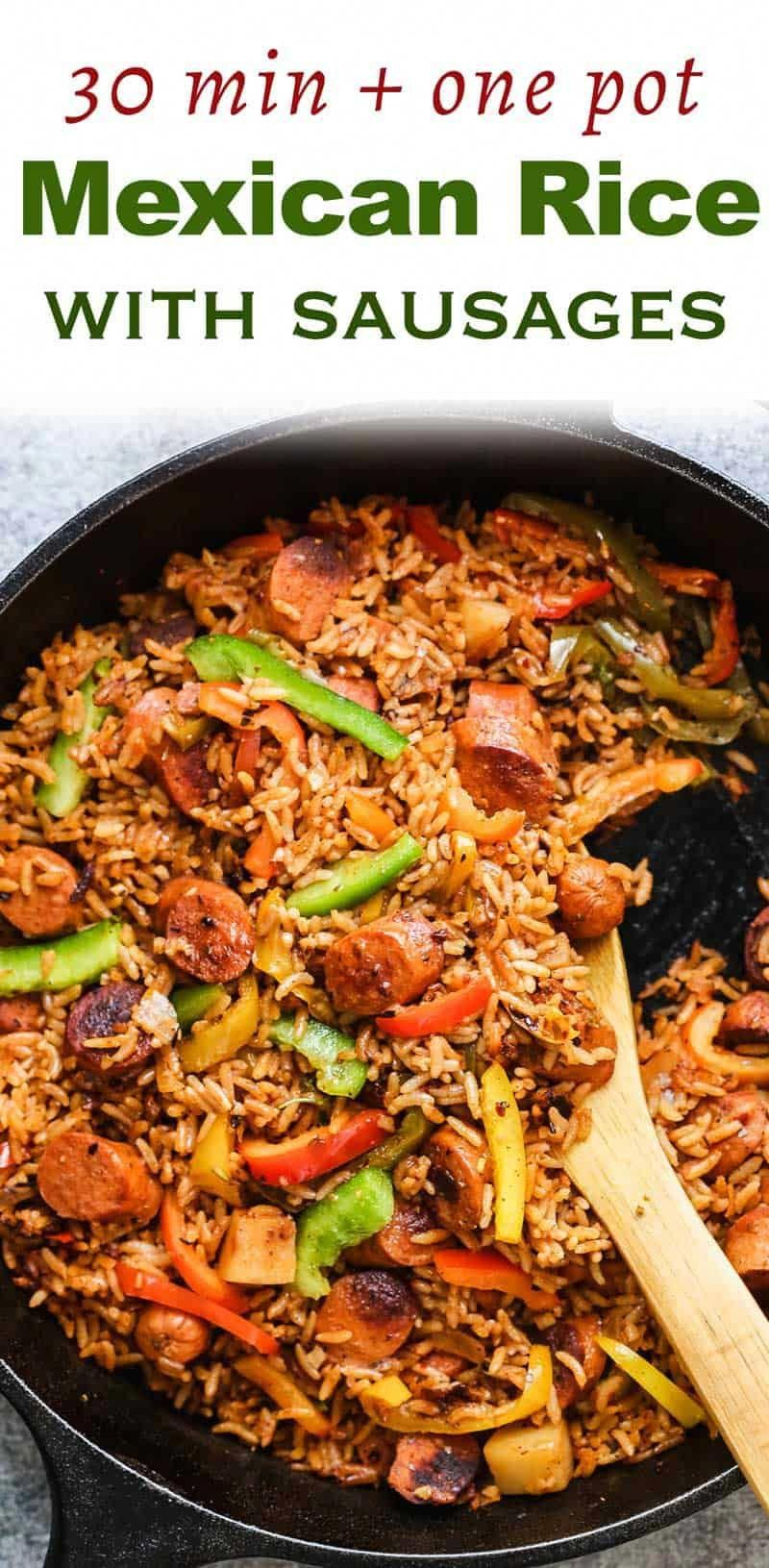 One Pot Mexican Rice and Sausages is a quick, 30 minute recipe that the entire family will love! Flavoured with oregano, chipotle, cumin and tossed with bell peppers, its a hearty meal thats so yum! via @my_foodstory