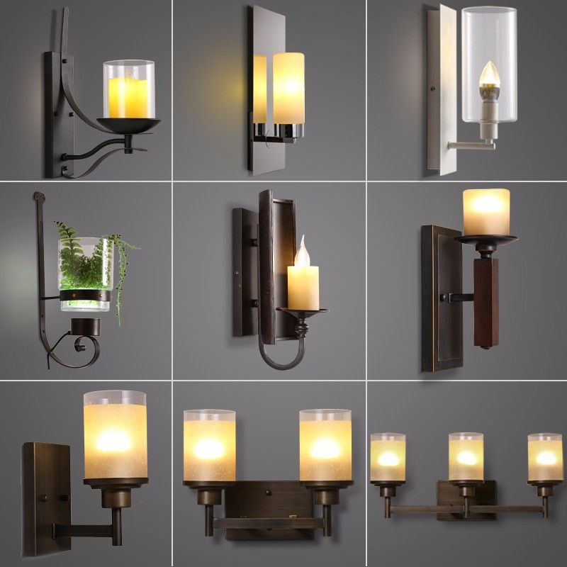 Photo of Loft industrial metal holder candle exterior LED antique wall lamp