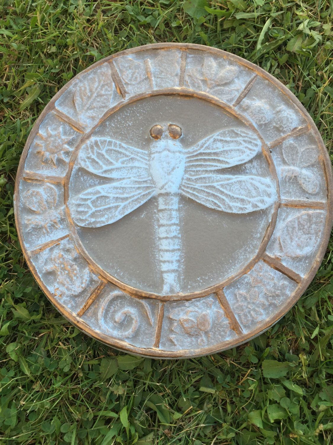 12 Inch Round Hand Painted Concrete Dragonfly And Symbol Stepping Stone Painting Concrete Hand Painted Painting