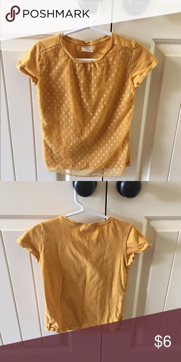 Cute Zara girls tee with lace overlay on front Mustard girls Zara tee Zara Shirts & Tops Tees - Short Sleeve