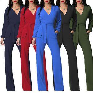 Ol Office Playsuit Womens Dress Romper Long Pants Clubwear V Neck