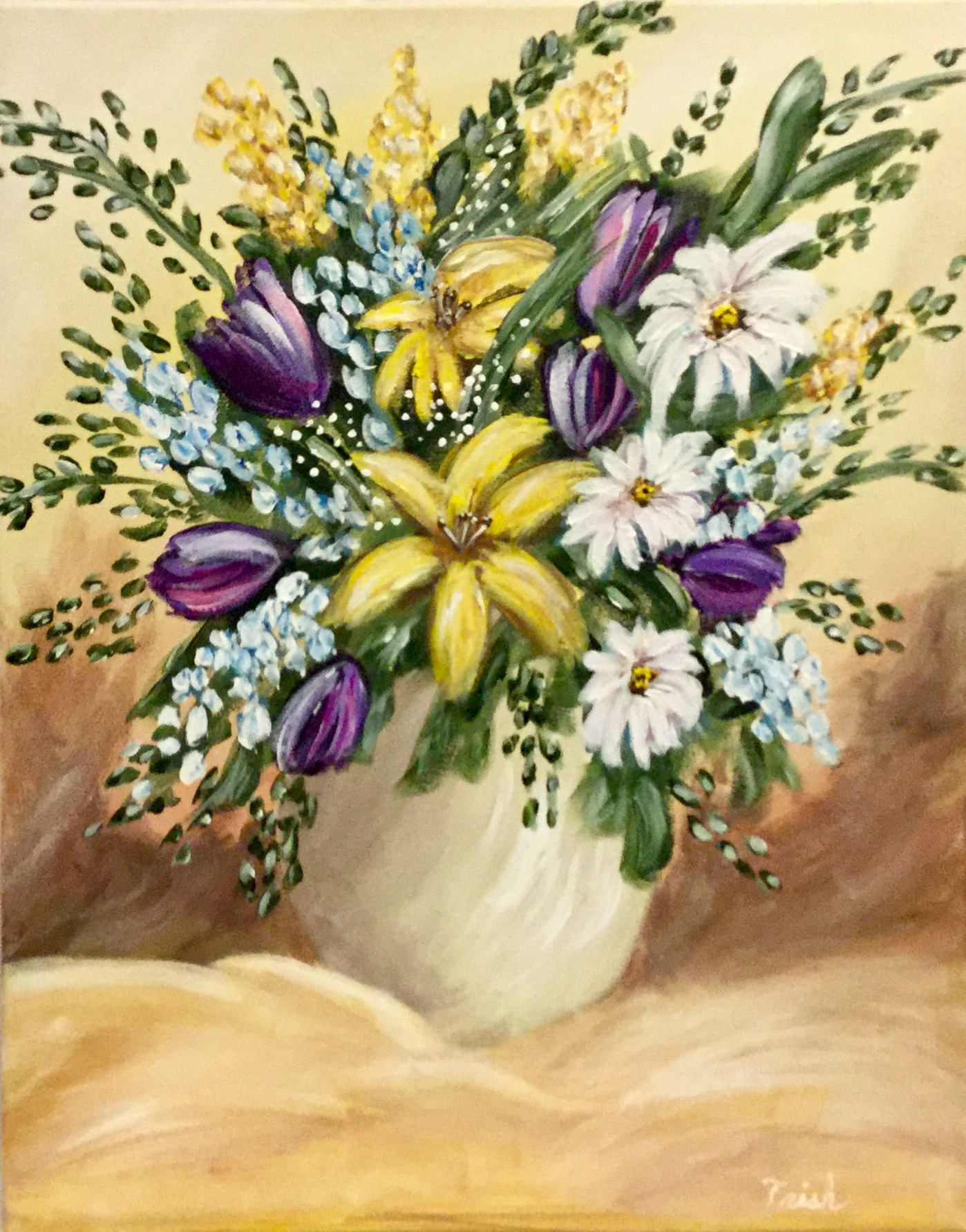 Flower Vase Canvas Painting, Bouquet Painting, Flower Still Life ...