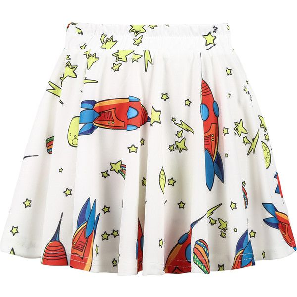 Choies Rocket Stars Print Pleated Skirt (£9.69) ❤ liked on Polyvore featuring skirts, space, multi, white pleated skirt, knee length pleated skirt, white knee length skirt, pleated skirt and white skirt