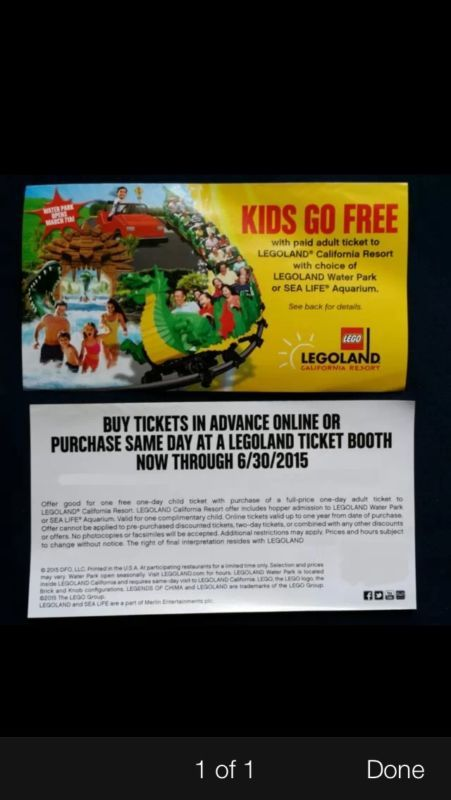 Legoland Complimentary Kid Admission With Paid Adult Ticket