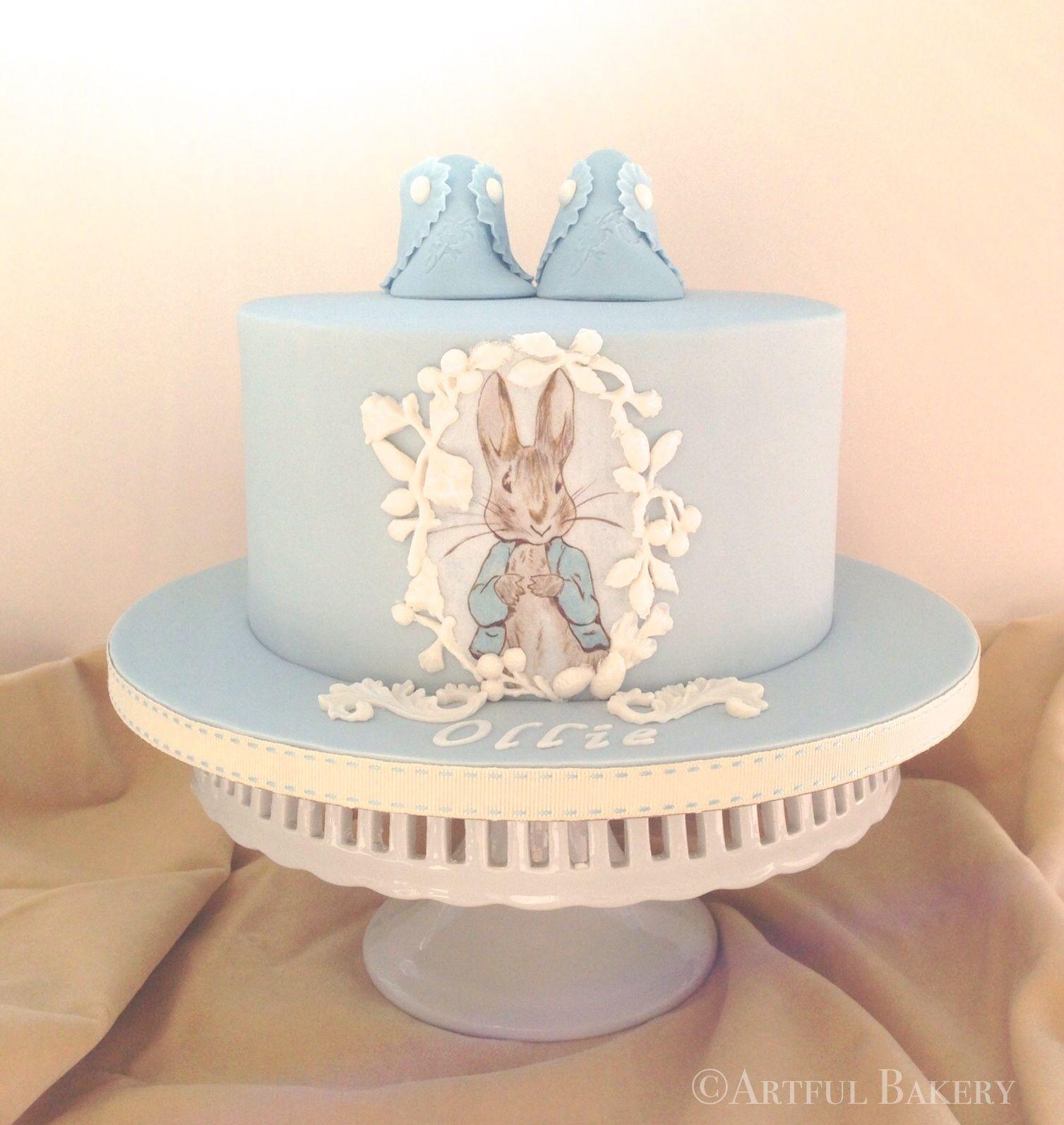 hand painted Peter Rabbit Christening cake