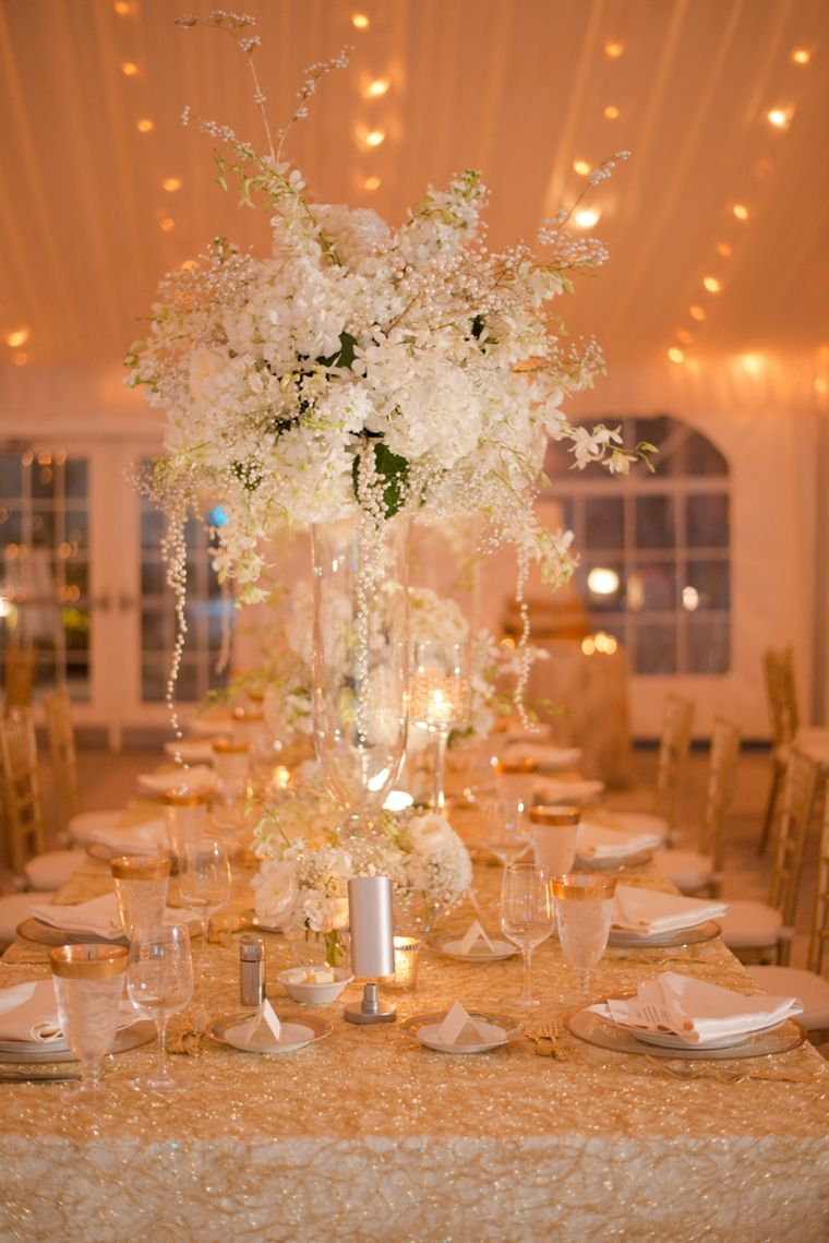 White Wedding Table Decorations Of An Elegant Gold And White Sarasota Wedding Receptions