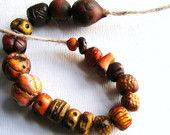 RESERVED FOR CYNDELLE 20 Artisan Beads   tribal urban talisman amulet winter autumn fire black gold orange