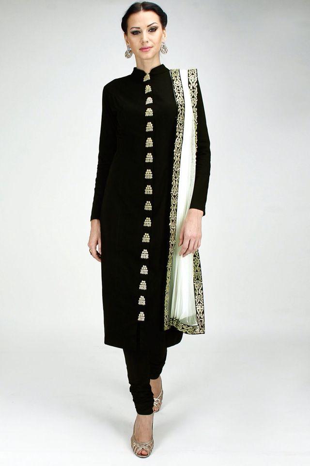 0afe6c99ff Black suit with gorgeous buttons | suit | Indian dresses, Indian ...