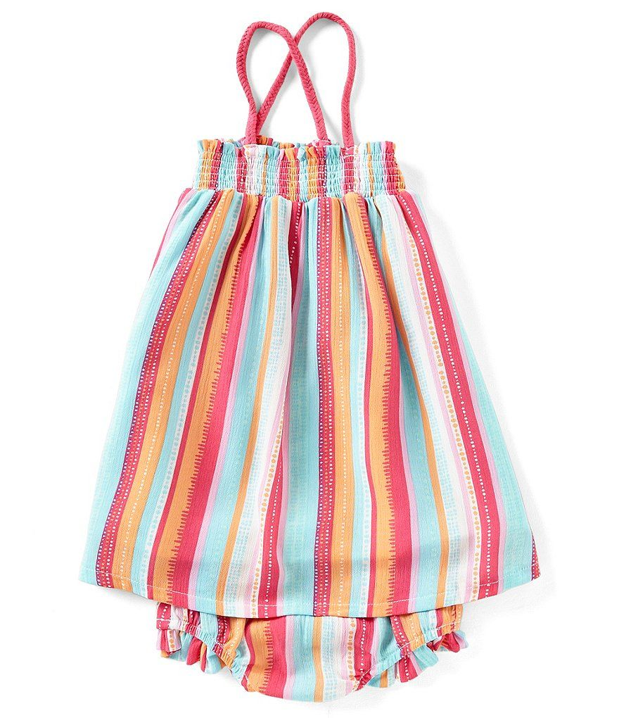 fcd9bbda9e16 Jessica Simpson Baby Girls 12-24 Months Tropical-Stripe A-Line Dress ...