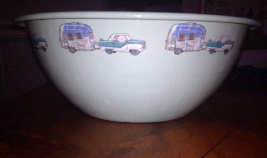 Vintage Marble Canyon Ramblin Road 10 Enamelware Bowl Car Amp Trailer Darling Car Trailer Marble Canyon Enamelware