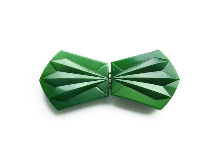 Art Deco Buckle, Czech Belt Buckle, Czechoslovkia, Emerald Green, Glass Buckle, Art Deco Fashion, Vintage Accessories