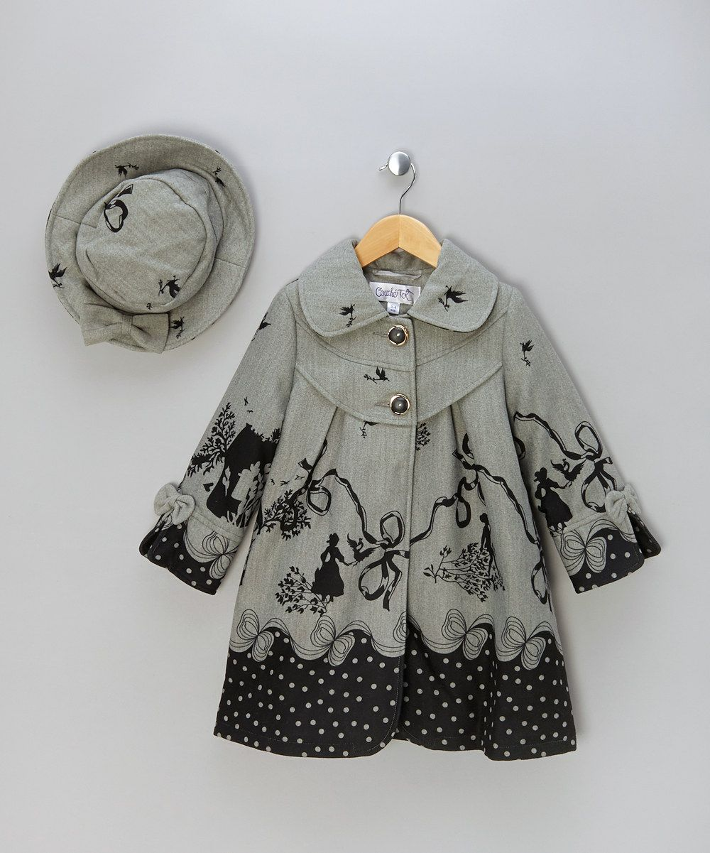 Grey & Black Printed Coat & Hat - Infant, Toddler & Girls ...