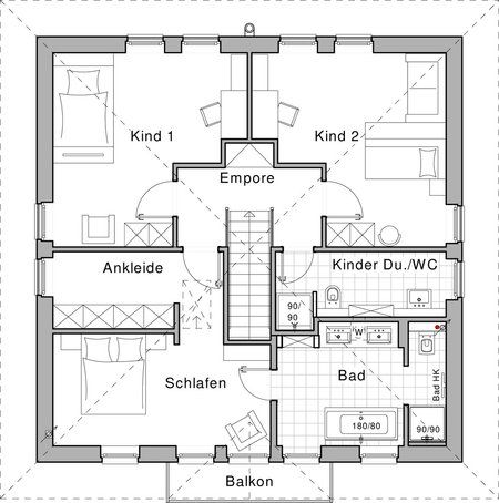 Grundriss obergeschoss plusenergiehaus life von for Raumaufteilung einfamilienhaus neubau