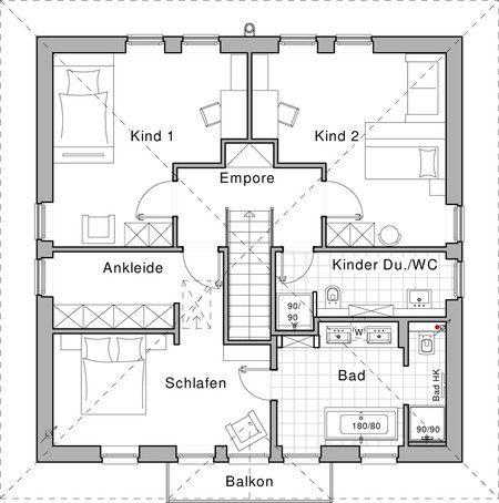 Grundriss Obergeschoss Plusenergiehaus Life von Viebrockhaus - badezimmer grundriss planen