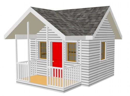 The 8 39 x 10 39 children 39 s backyard playhouse plan for Kids playhouse blueprints