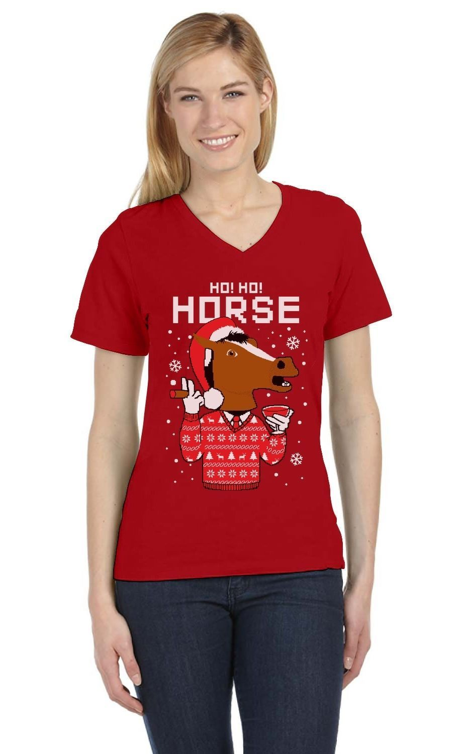 Kersttrui Matching.Details About Horse Mask Ugly Christmas Sweater Holiday V Neck Women