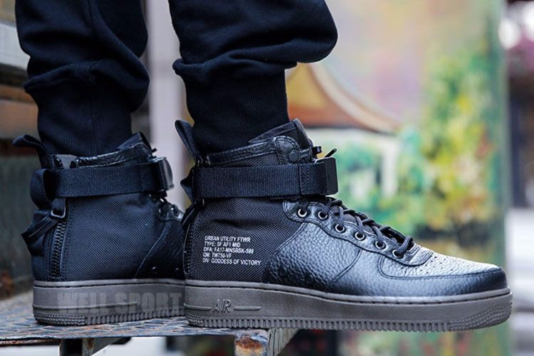 c973bc4b375 Nike SF Air Force 1 Mid Triple Black in the classic basketball shoes on the  basis
