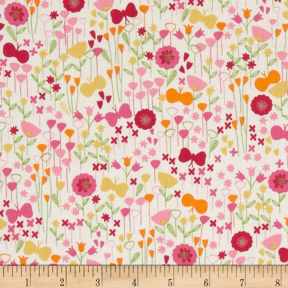 "ROBERT KAUFMAN /""LONDON CALLING 5/"" BLOOM Pink LAWN by yard"