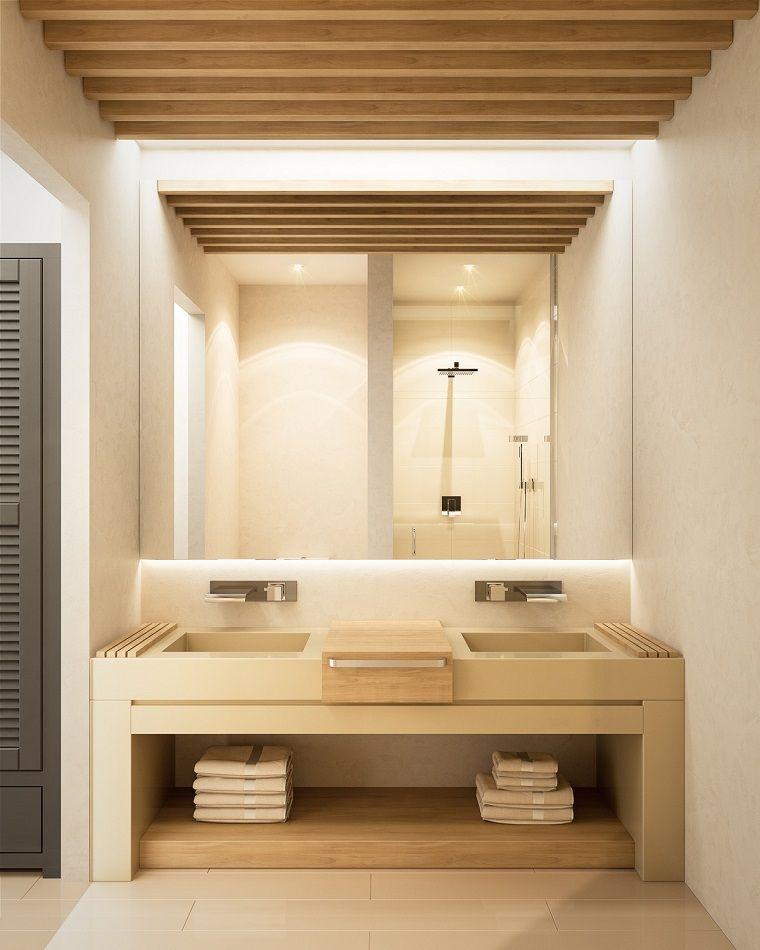 Arredare casa idee originali bagno con mobile di legno e for Arredare casa idee originali