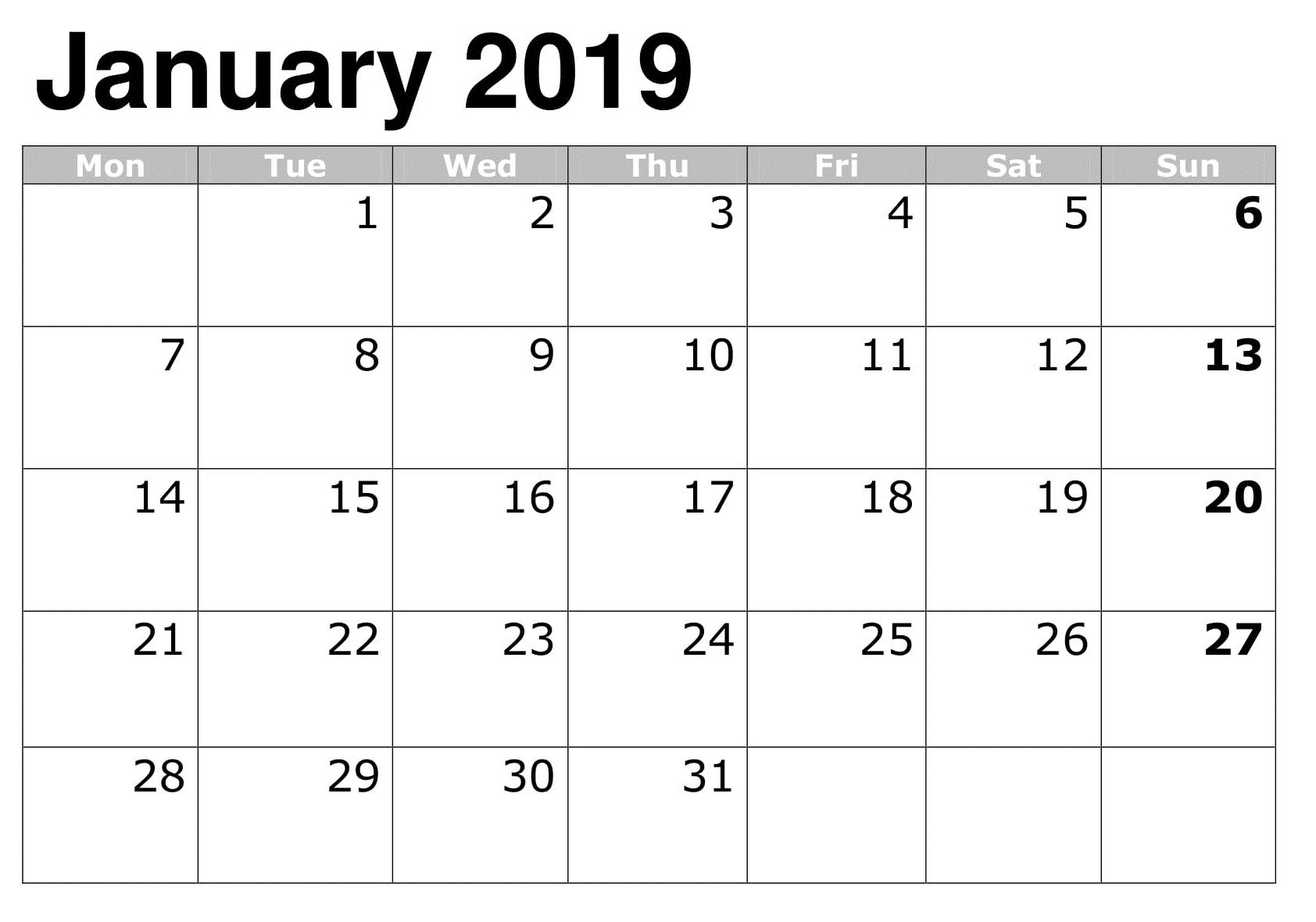 January 2019 Calendar Printable Calendar Printables 2019 Calendar