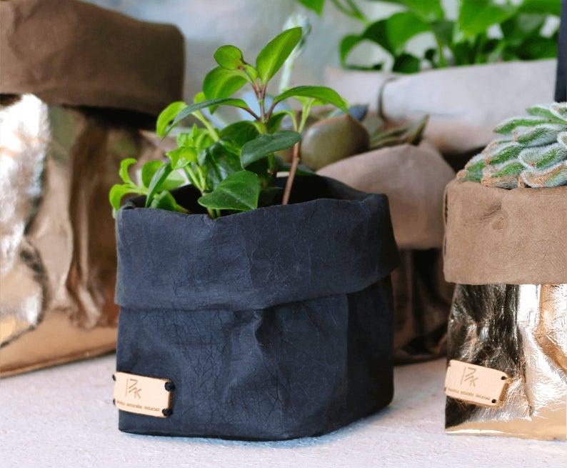 Paper Bag Washable Paper Storage Bag Basket Flower Pot