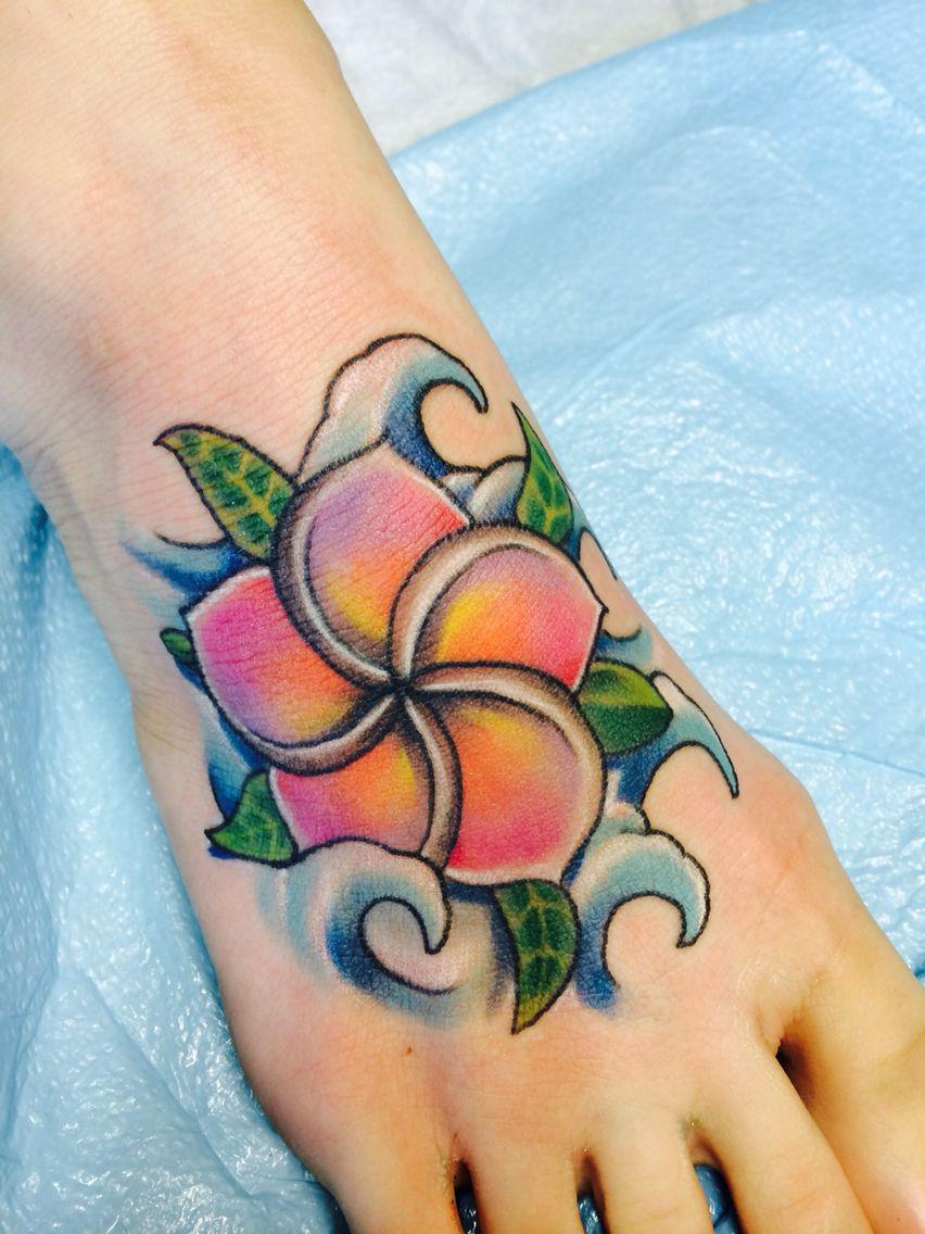 Plumeria Turtle Foot Tattoo By Nephtali Lefty Brugueras Jr 12