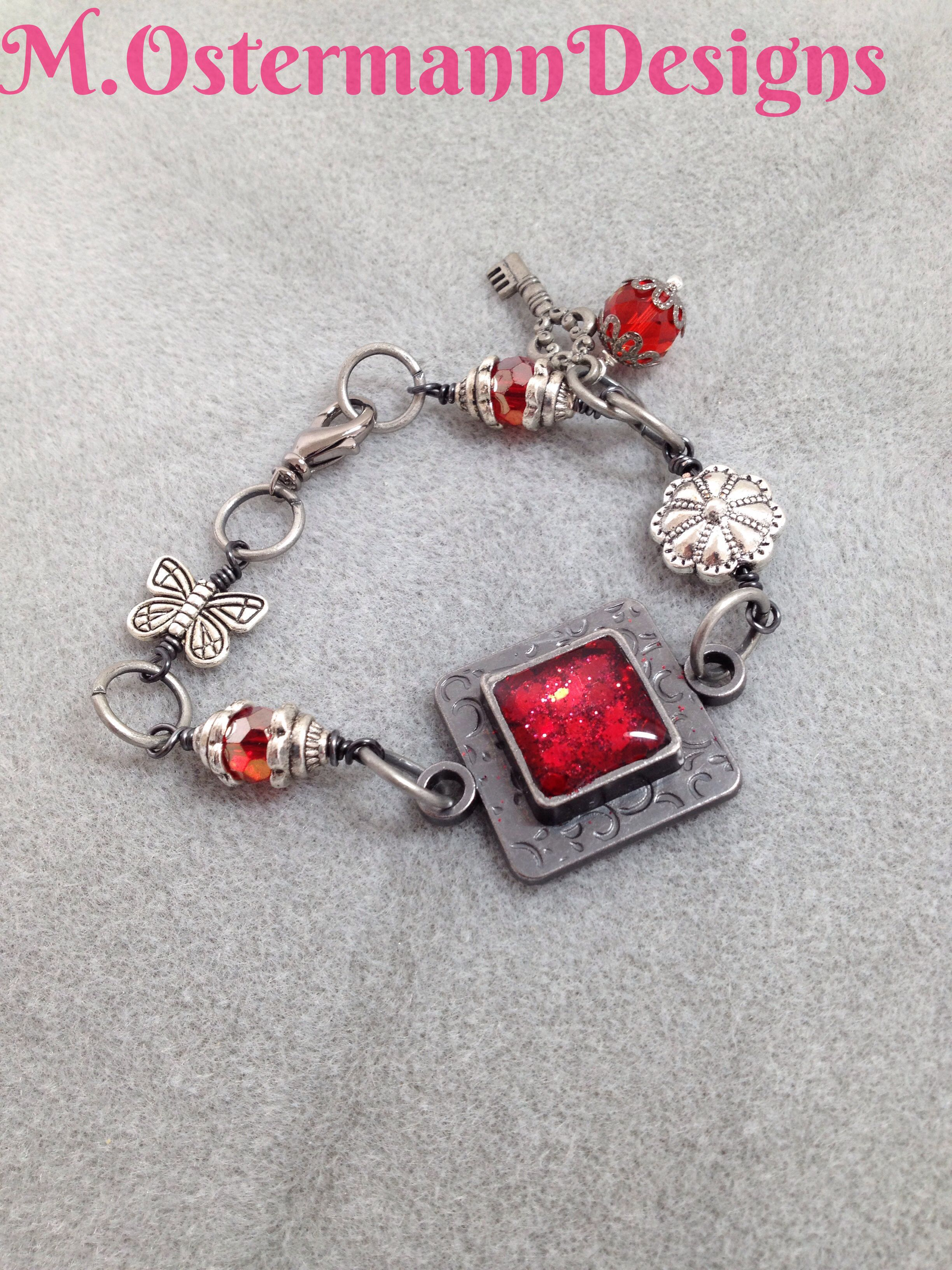 Red Resin Plaque Wire Wrapped Bracelet