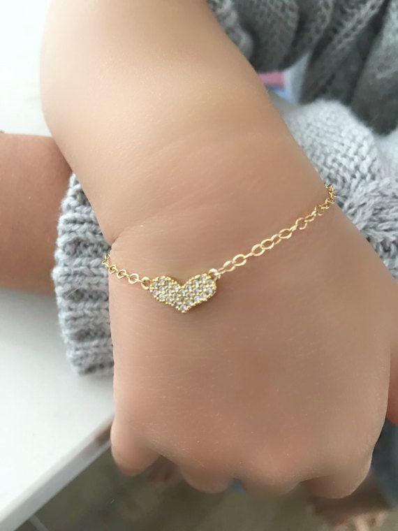 Initial Heart Bracelet Silver Heart Bracelet Gold Filled Personalized CZ Heart Bracelet Wedding Bracelet Wedding Jewelry Bridal Gift