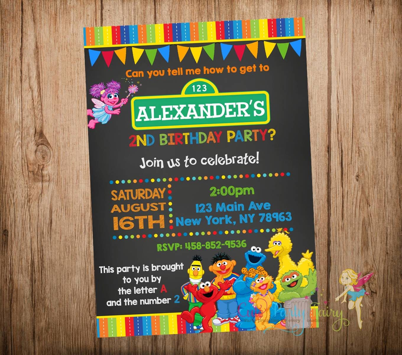 Sesame Street Birthday Invitation Chalkboard Printable Digital