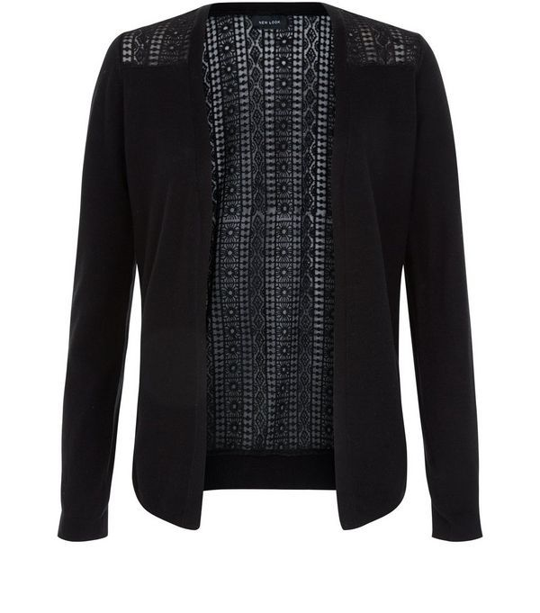 Black Lace Panel Cardigan | Black laces, Womens knitwear and ...