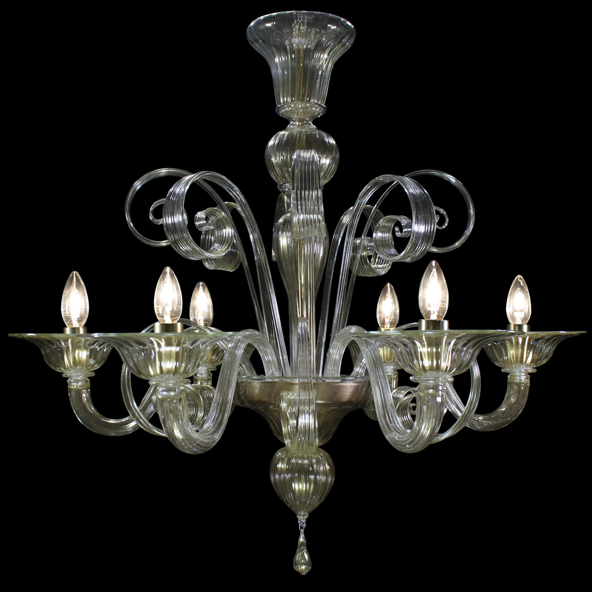 Venetian glass chandelier 5 lights in crystall and gold 24carats