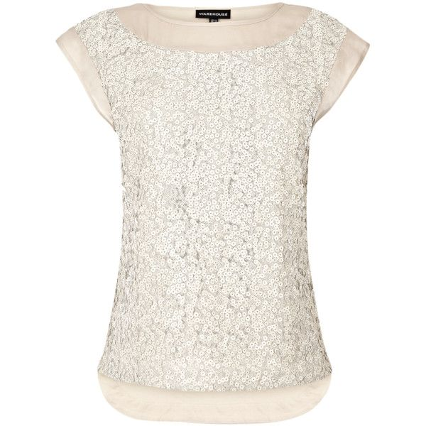 Warehouse Sequin Front Tee found on Polyvore