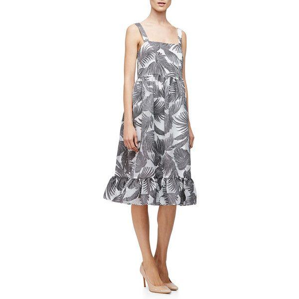 Co Empire-Waist Palm-Print Tank Dress ($1,225) ❤ liked on Polyvore featuring dresses, empire waist dress, tank top dress, slimming dresses, white sleeveless dress and full skirt