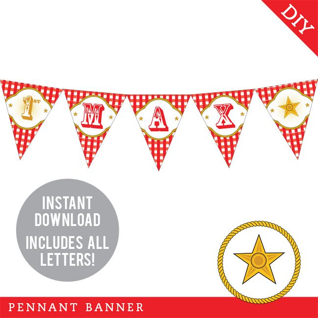 Country Western Party Pennant Banner (INSTANT DOWNLOAD) | Country ...
