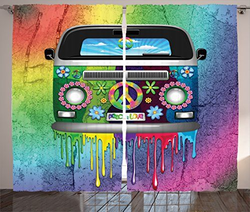 Groovy Decor Curtains by Ambesonne Old Style Hippie Van with Dripping Rainbow Paint Mid 60s Youth Revolution Movement Theme Window Drapes 2 Panel Set Living Room Bedroom 108 W X 84 L Inches Multi -- ** AMAZON BEST BUY ** #Curtains