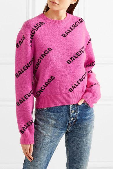 Pink Intarsia wool sweater   Balenciaga