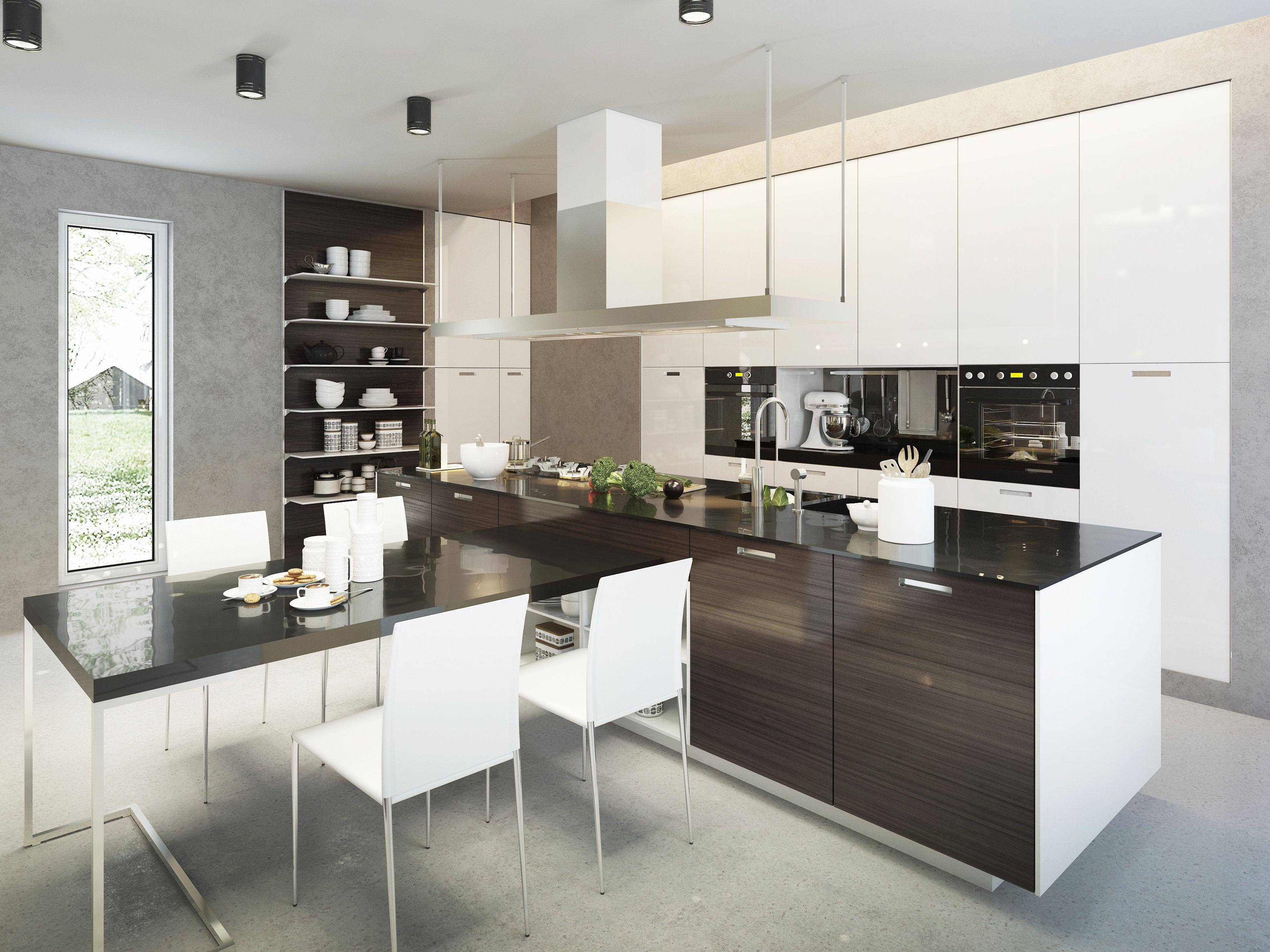 Nowoczesna Minimalistyczna Aranzacja Drewnianej Bialo Brazowej Kuchni Z Czarnymi Blatami Nad Wys Kitchen Cabinet Remodel Kitchen Design Contemporary Kitchen