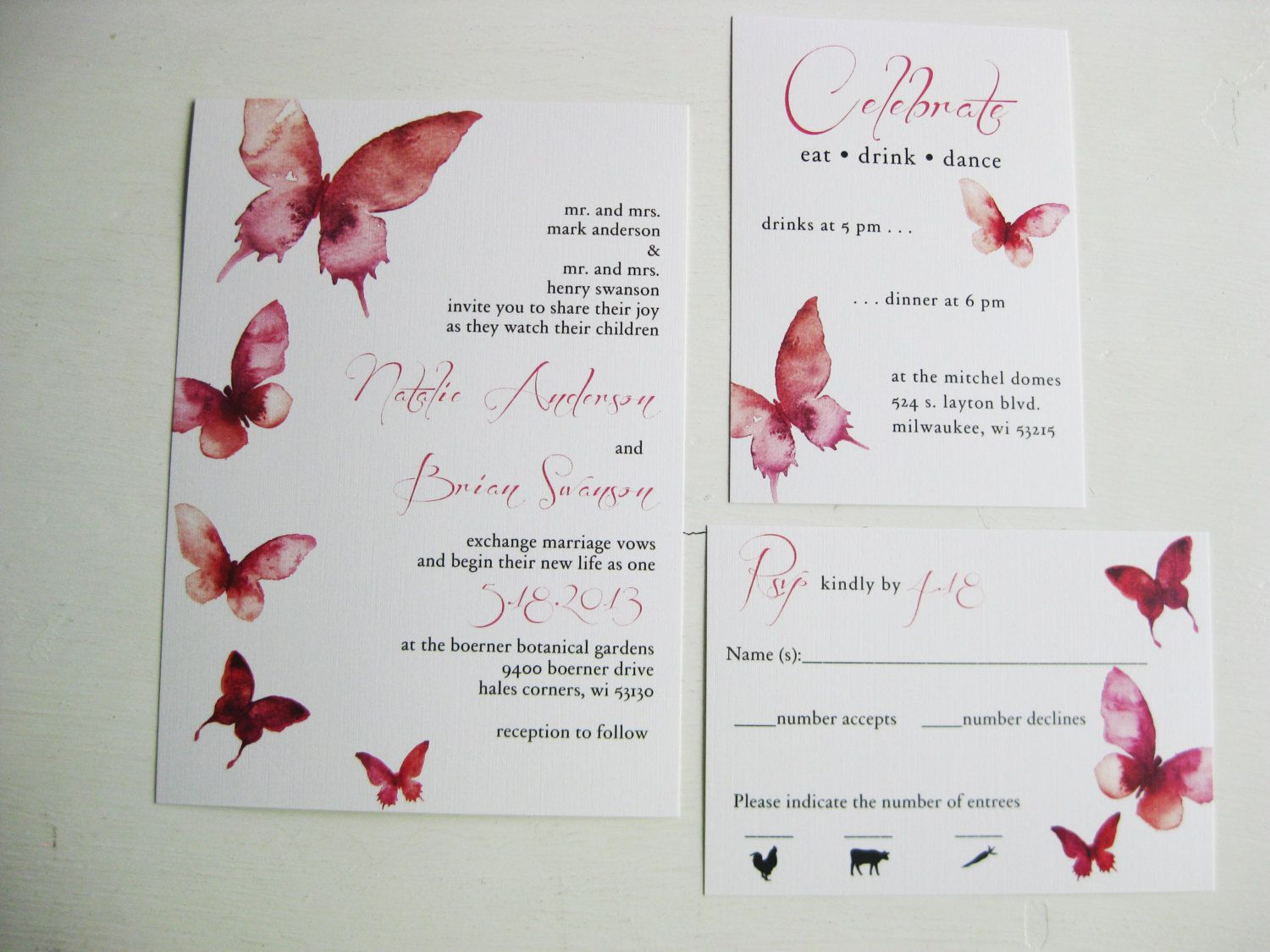 Watercolor Butterfly Wedding Invitations Dco by DColovenotes ...