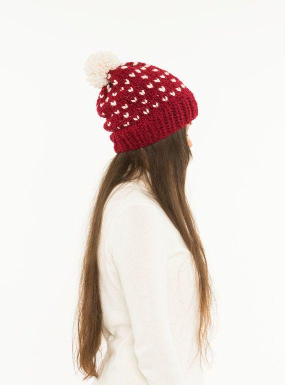 Fair Isle Slouchy Hat Chunky Knit Pom Pom Wool Beanie, Ribbed ...