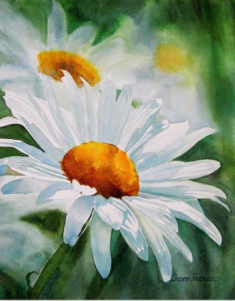cuadros-de-flores-blancas-pintadas-con-acuarelas | Flores ...