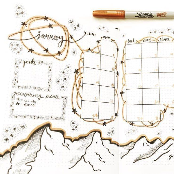 Top 10 Gold Inspired Bullet Journal Spreads | My Inner Creative