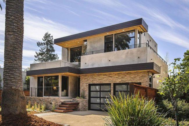 Flachdachhaus Beton Natursteinplatten Fassade Garten