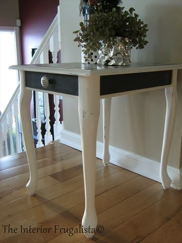 Queen Anne Black And White Stripe End Table Makeover End