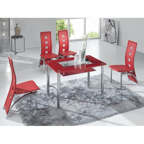 Rimini Small Red Glass Dining Table With 4 Red D215 Chairs Small Glass Dining Table Glass Dining Table Glass Dining Room Table