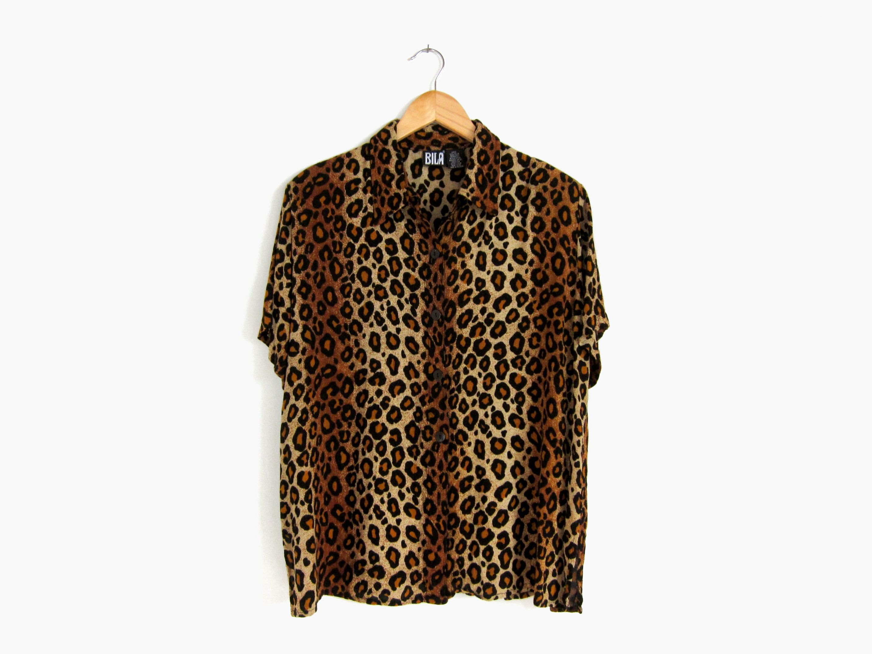 90s Leopard Print Shirt Relaxed Collared Top Slouchy Short Etsy Leopard Print Shirt Floral Collared Shirt Printed Shirts [ 2150 x 2867 Pixel ]