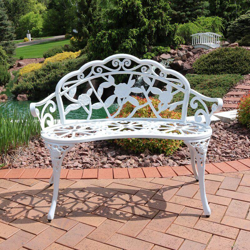 Montezuma Cast Aluminum Garden Bench In, White Cast Aluminum Garden Benches
