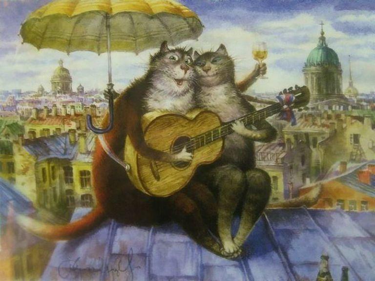 Петербургские коты Владимира Румянцева   Иллюстрации кошек ...