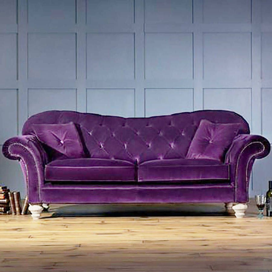 The Old Bessie Three Seater Velvet Chesterfield Sofa