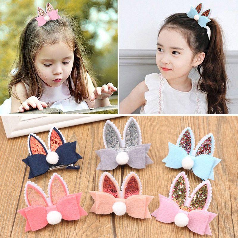 Rabbit Ears Hairpins Headwears Babys Hair Clips Barrette Girl Hair-Accessories x | eBay