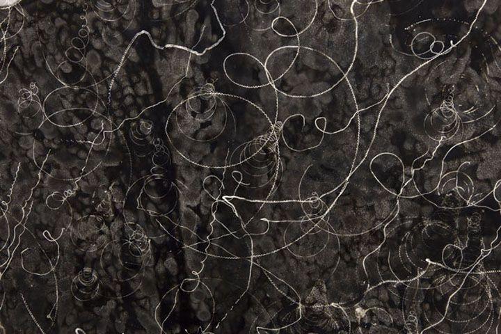 Rainier Lericolais   2012  Black smoke, glass  137 x 103 cm  (detail)   Galerie frank elbaz